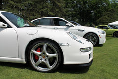 Modern german sports car front detail. Front side details. modern white Porsche 911 Carrera sports car. Belle Macchine d'Italia car event, Pennsylvania Royalty Free Stock Photos