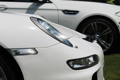 Modern german sports car front detail. Front side details. modern white Porsche 911 Carrera sports car. Belle Macchine d'Italia car event, Pennsylvania Stock Photos