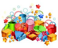 Modern gift boxes. With festive elements on white Royalty Free Stock Images