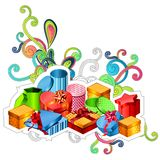 Modern gift boxes. With modern festive elements on white Royalty Free Stock Image