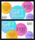 Modern gift voucher with intersected circles Stock Image