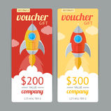 Modern Gift Voucher with Rocket Fly. Vector Royalty Free Stock Images