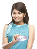 Modern girl with the CD royalty free stock photo