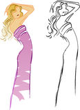 Modern Girl. Fashion Sketch. Side View. Royalty Free Stock Photos