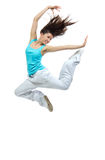 Modern girl jumping dancing Stock Image
