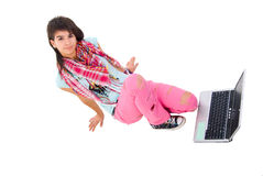 Modern Girl With Laptop. Royalty Free Stock Image