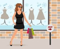 Modern girl loaded with shopping bags Royalty Free Stock Photo