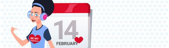 Modern Girl Over Calender Page Happy Valentines Day Greeing Horizontal Banner With Copy Space. Vector Illustration Stock Photo