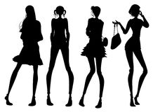 Modern girl silhouette Stock Photos