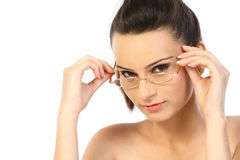 Modern girl with specs. In white background Stock Images