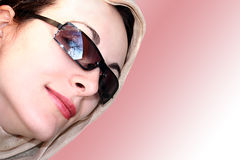 Modern Girl with Sun and Scarf - Face; Great look !! Stock Photography