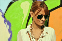 Modern girl with sunglasses Royalty Free Stock Image