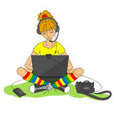 Modern girl and various gadgets Stock Images