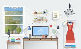 Modern girl workplace in flat minimalistic style. Vector illustration of modern girl workplace in room. Creative office workspace blogger with elements, objects Royalty Free Stock Image