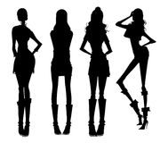 Modern girls silhouette Royalty Free Stock Photo