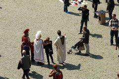 Modern gladiators. Taking photos with tourists. A new scheme for earning money in the touristic parts of Rome. Very popular during summer Royalty Free Stock Photo