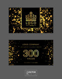 Modern glamour gift voucher with golden crown. Glitter and sparkles. Vector illustration. EPS 10 royalty free illustration