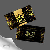 Modern glamour gift voucher with golden light, glitter and sparkles Stock Photos