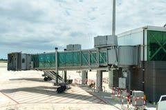 Modern glass airport ramp overcast Stock Photography