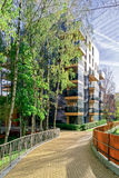 Modern glass apartment residential building and Birch trees Stock Photo