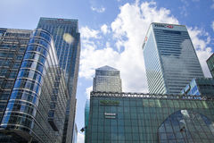 Modern glass architecture of Canary Wharf business aria, and office workers Royalty Free Stock Photo