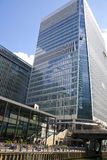 Modern glass architecture of Canary Wharf business aria, and office workers Royalty Free Stock Photography