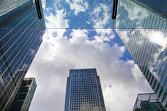 Modern glass architecture of Canary Wharf business aria, and office workers Royalty Free Stock Images