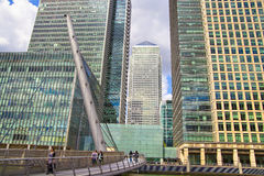Modern glass architecture of Canary Wharf business aria, and office workers Stock Image