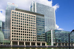 Modern glass architecture of Canary Wharf, London Royalty Free Stock Images
