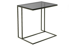 Modern glass black table isolated on white background. Stock Photo