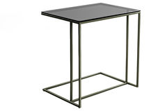 Modern glass black table isolated on white background. Royalty Free Stock Photos