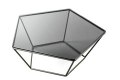Modern glass black table isolated on white background. Stock Images