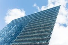 Modern glass building skyscraper blue sky. Details shot Stock Photo