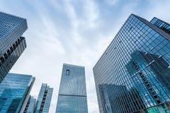 Modern glass buildings closeup royalty free stock image