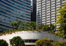 Modern glass buildings with garden on roof in Singapore. Modern glass buildings with garden and trees on roof in Singapore royalty free stock photos