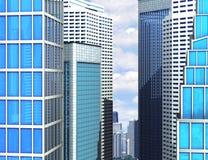 Modern glass byggnad av skyskrapor i staden Arkivbild