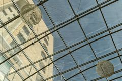 Modern glass ceiling with lamps. Detail royalty free stock photo