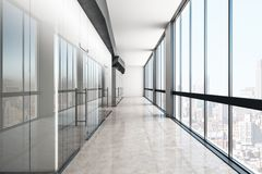 Modern glass corridor. Modern glass office corridor with reflections and panoramic city view. 3D Rendering stock illustration