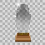 Modern glass cup trophies and challenge prizes side view realistic icons collection against transparent background. Isolated vector illustration Stock Illustration