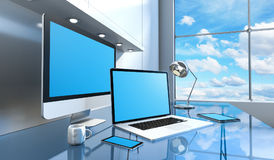 Modern glass desk interior with computer and devices 3D renderin Stock Photos