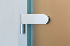 Modern glass door hinge Royalty Free Stock Images
