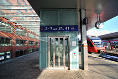Modern glass elevator in Innsbruck train station Stock Photography