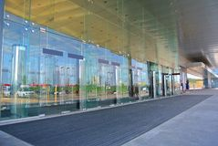 Modern glass entrance to the building in Moscow Royalty Free Stock Images