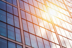 Modern glass exterior of corporate office buildings shot from a. Low angle Royalty Free Stock Images