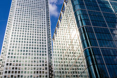 Modern glass exterior of corporate office buildings shot from a Stock Image