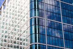 Modern glass exterior of corporate office buildings shot from a Royalty Free Stock Images