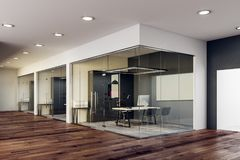 Modern glass kontorsinre vektor illustrationer