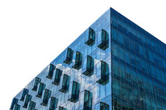 Modern glass office building isolated on white Royalty Free Stock Images