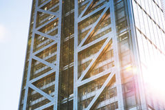 Modern glass office business building in sunlight. Modern office building in London royalty free stock images