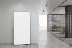 Modern glass corridor with ad stand. Modern glass office corridor with daylight and empty ad stand on wall. Mock up, 3D Rendering Stock Photos